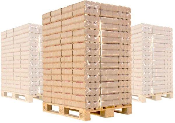 LABU-Holz-Briketts auf Palette